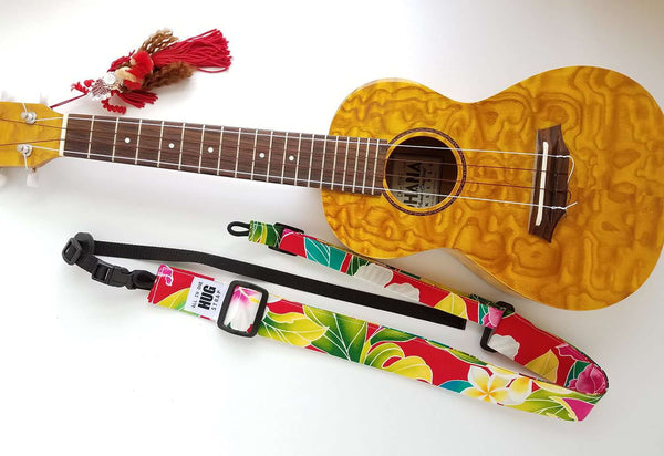 Ukulele Strap ALL in ONE Hug - Hibiscus and Ferns Red