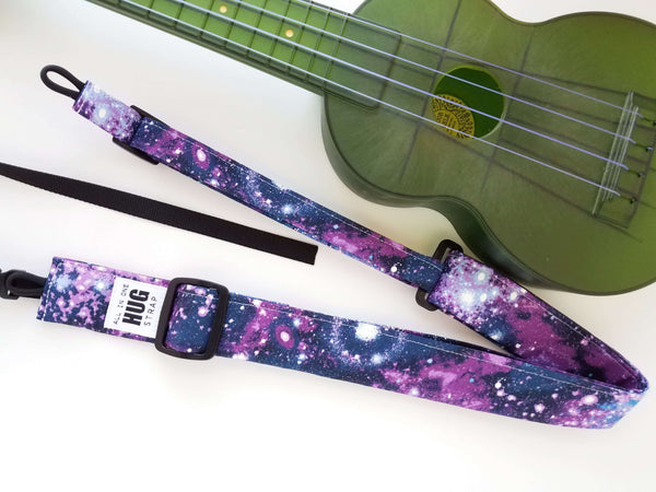 Ukulele Strap ALL in ONE Hug - Purple Galaxy Stars