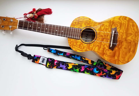 Ukulele Strap ALL in ONE Hug - Rainbow Silhouette Unicorns