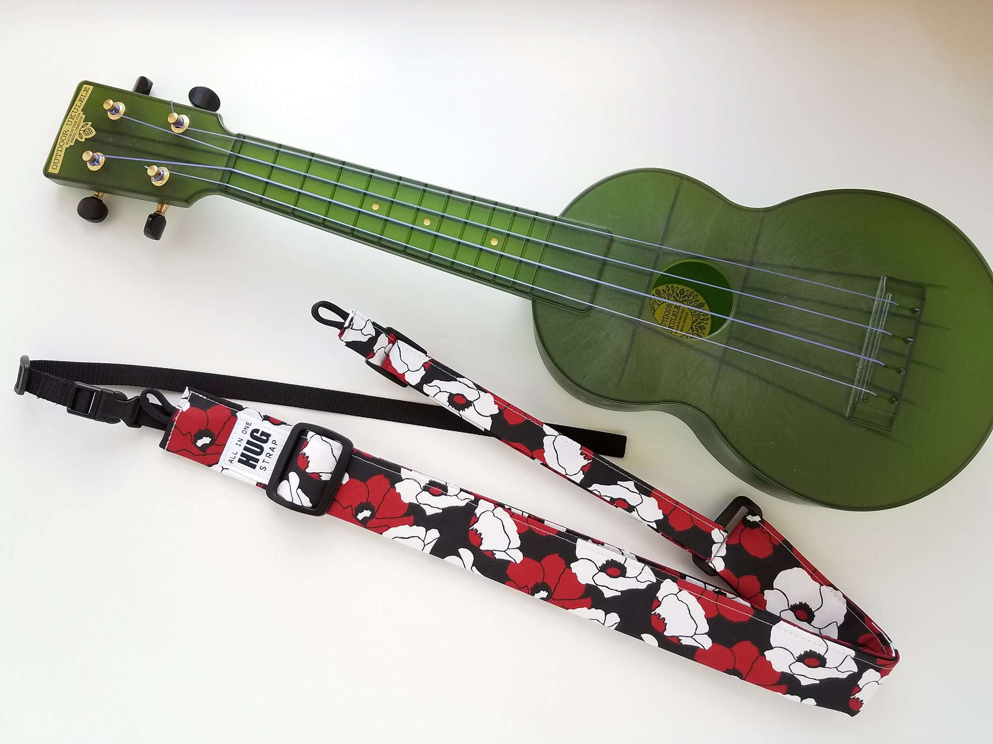Ukulele Strap ALL in ONE Hug - Red and White Poppies