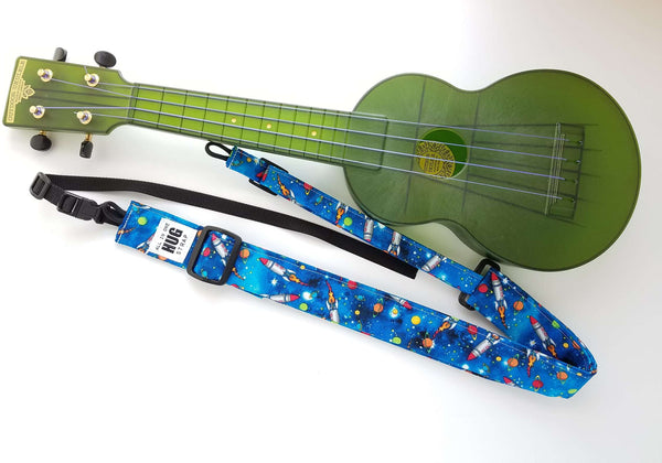 Ukulele Strap ALL in ONE Hug - Rockets in Space