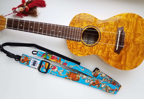 Ukulele Strap ALL in ONE Hug - Skeleton Party