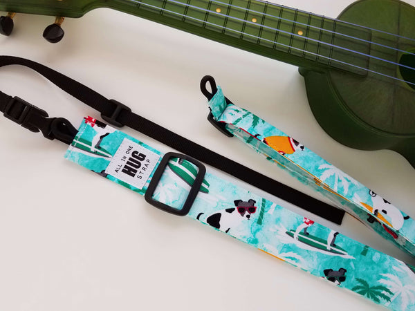 Ukulele Strap ALL in ONE Hug - Surfing Dogs