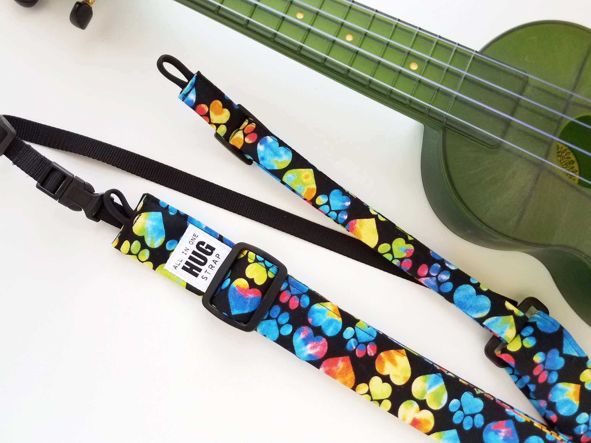 Ukulele Strap ALL in ONE Hug - Tie Dye Paw Prints and Hearts