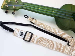 Ukulele Strap ALL in ONE Hug Strap - White Dots on Beige