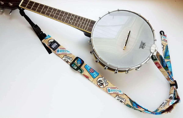 Ukulele Strap ALL in ONE Hug - Red, White, and Black Tribal Tattoo