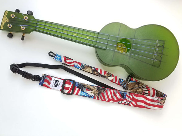 Ukulele Strap ALL in ONE Hug - American Flag and Eagle