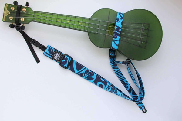 Ukulele Strap ALL in ONE Hug - Black Lined White Tapa on Blue