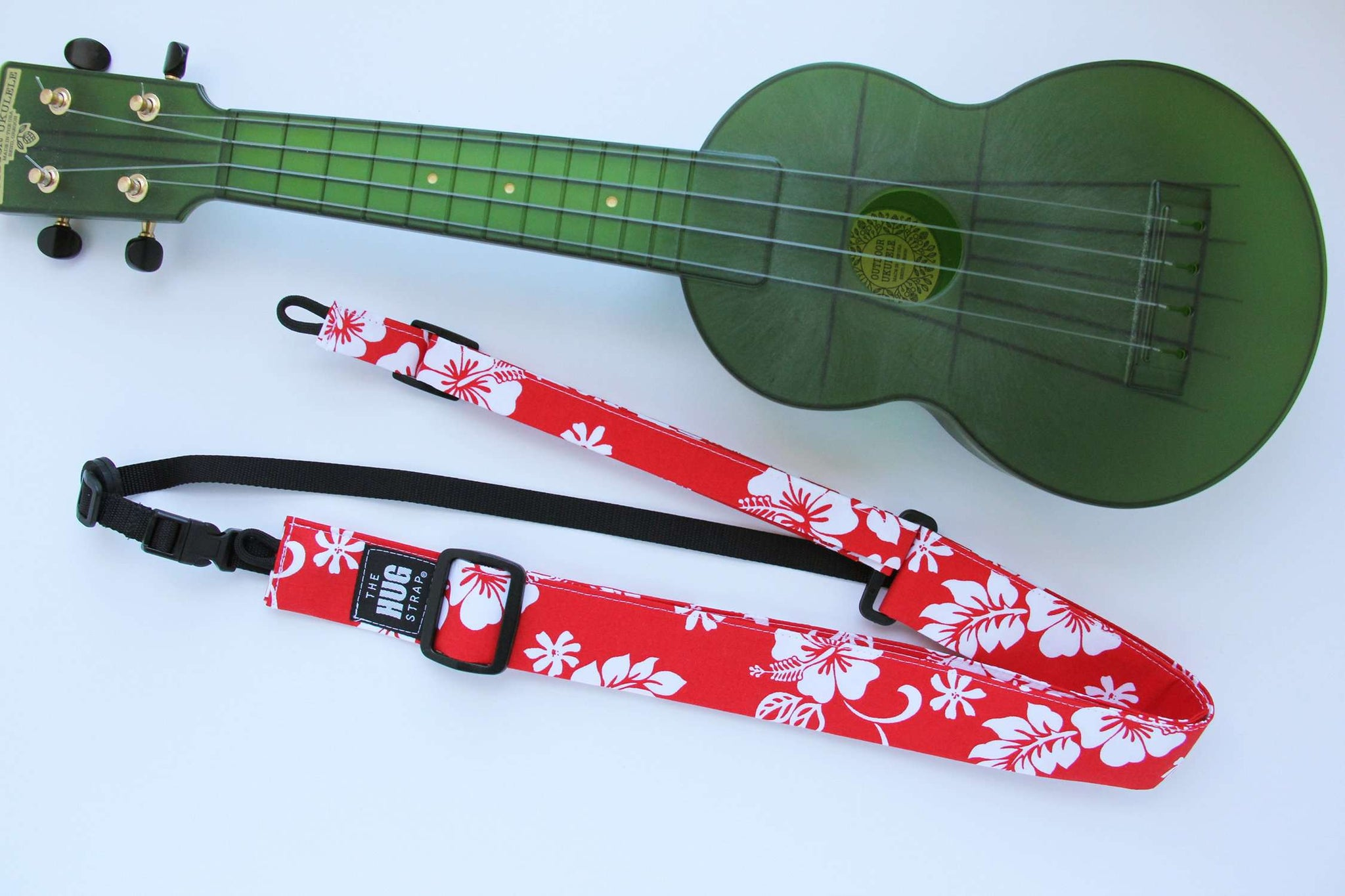 Ukulele Strap ALL in ONE Hug - White Hibiscus on Red