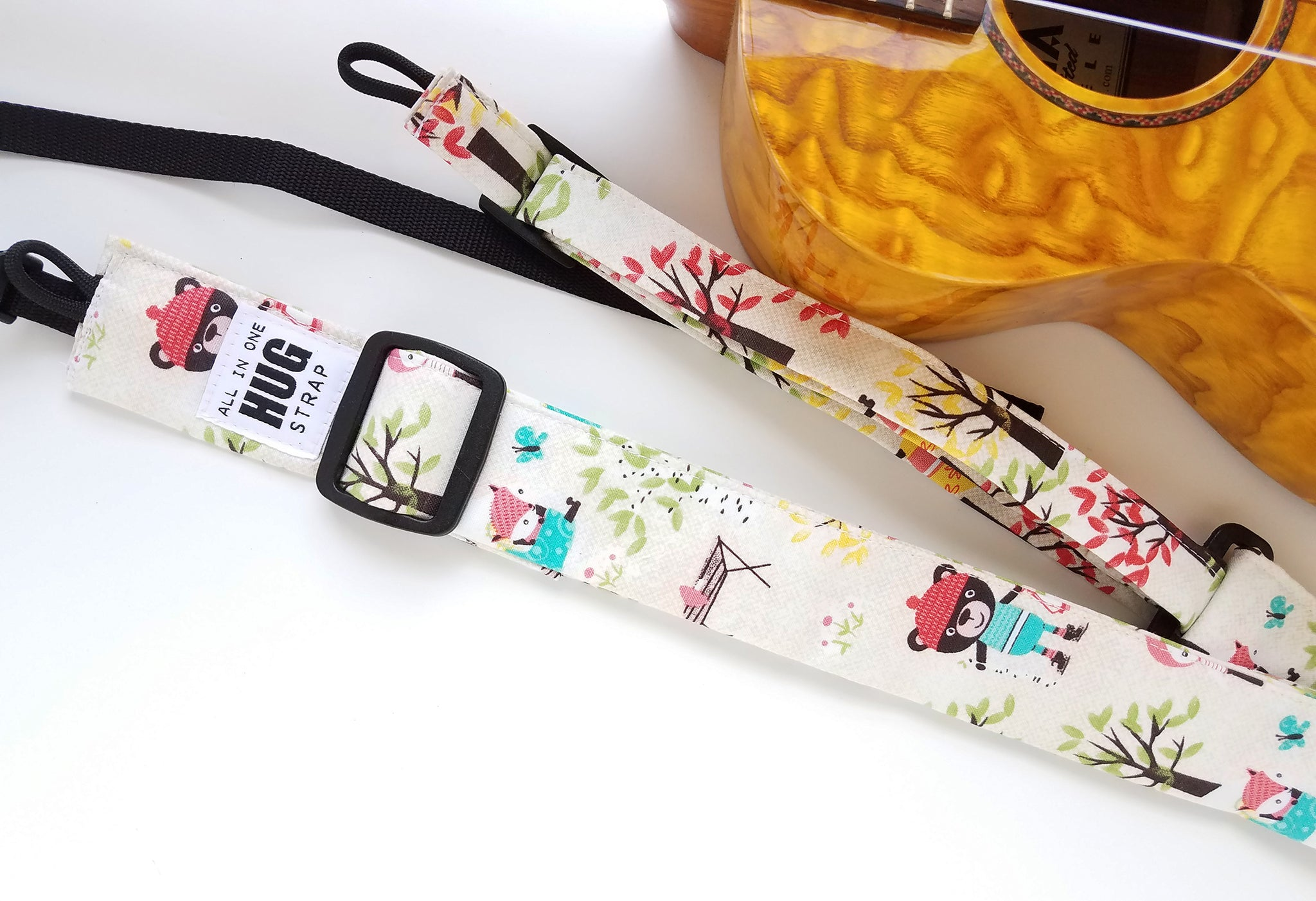 Ukulele Strap ALL in ONE Hug - Camping Wildlife Bears Foxes