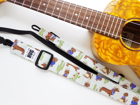 Ukulele Strap ALL in ONE Hug - Cowboy Dachshunds and Cacti