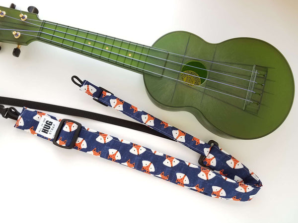 Ukulele Strap ALL in ONE Hug - Fox Heads Navy