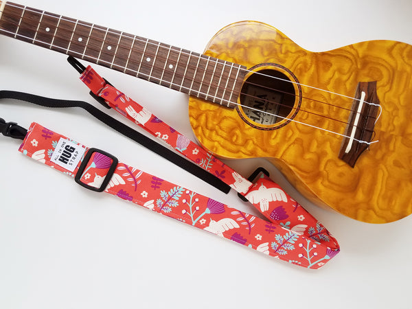 Ukulele Strap ALL in ONE Hug - White Bird Floral on Coral