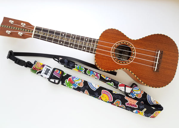 Ukulele Strap ALL in ONE Hug - Hawaiian Stickers