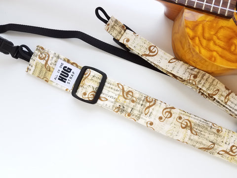 Ukulele Strap - All in One Hug - Musical Notes Gold Beige