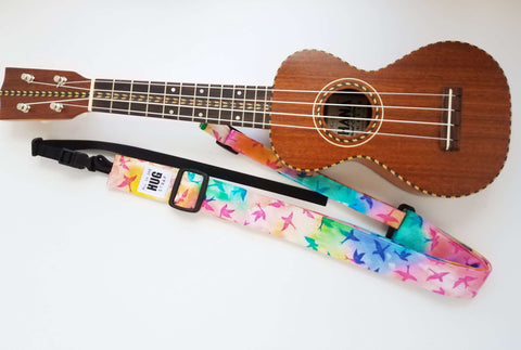 Ukulele Strap ALL in ONE Hug - Tie Dye Birds in Flight