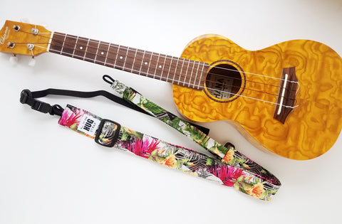Ukulele Strap ALL in ONE Hug - Tropical Jungle Floral
