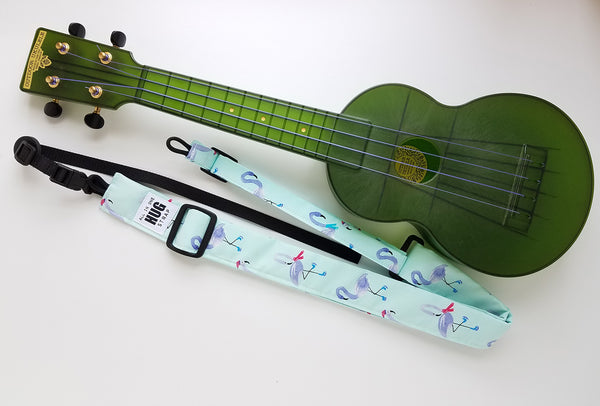 Ukulele Strap ALL in ONE Hug - Wintry Flamingos