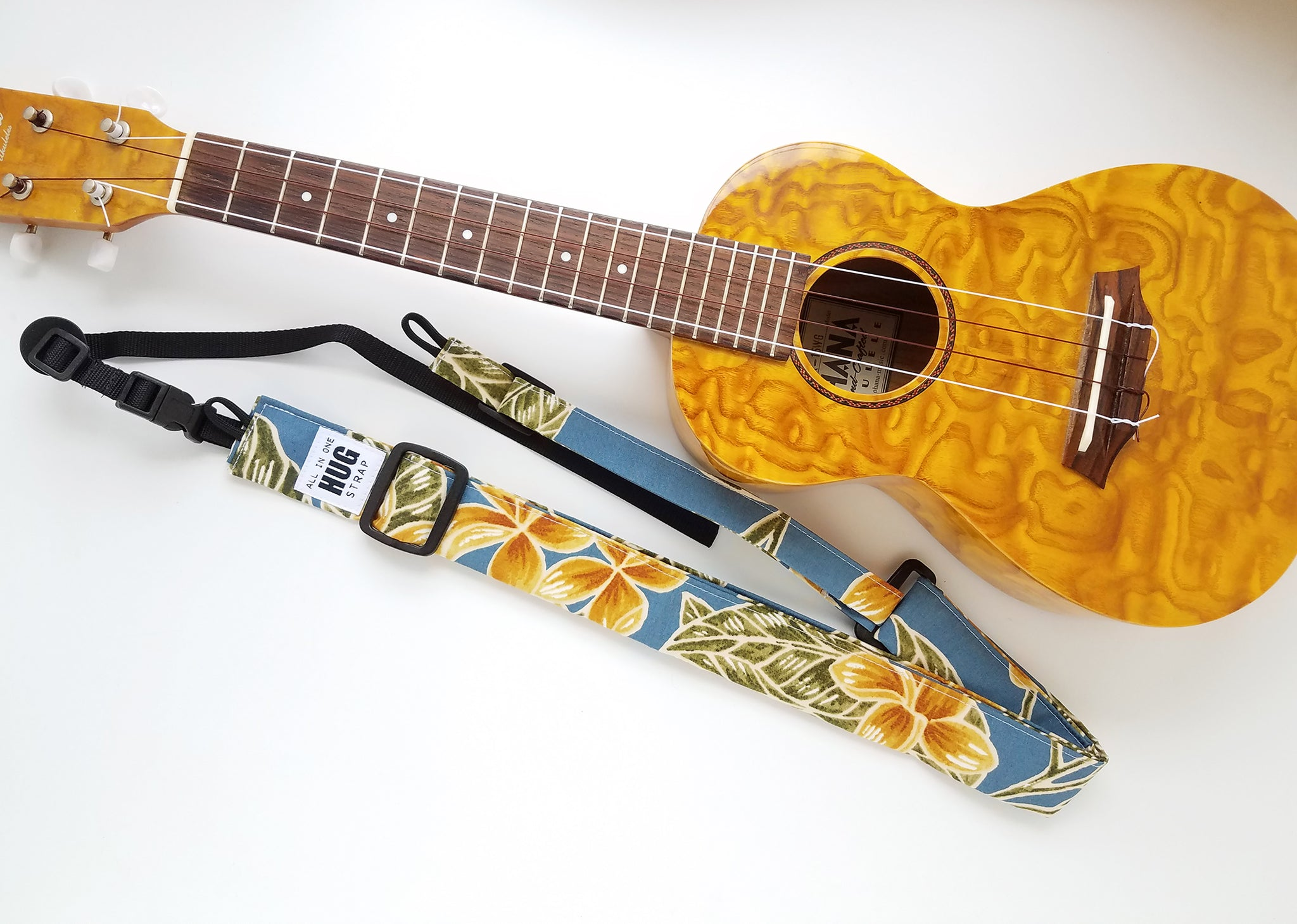 Ukulele Strap ALL in ONE Hug - Yellow Plumeria on Blue