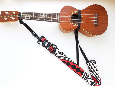 Hug Strap for Ukulele - Black, White, and Red Tribal Tattoo Print