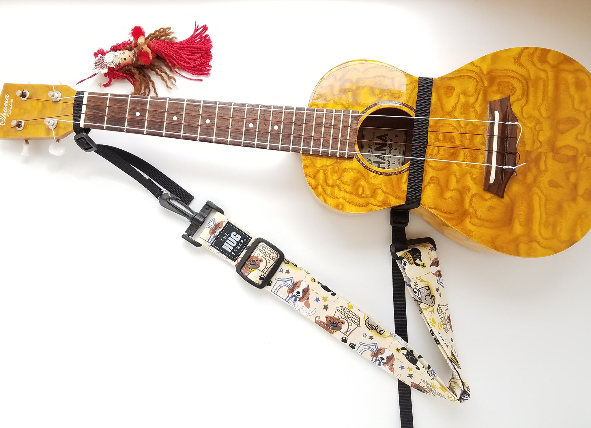 Hug Strap for Ukulele -Dogs on Beige
