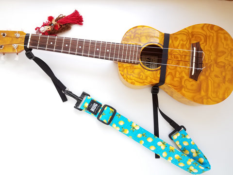 Hug Strap for Ukulele - Lemons on Aqua Blue