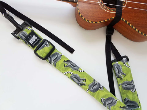 Hug Strap for Ukulele - Lemurs on Green
