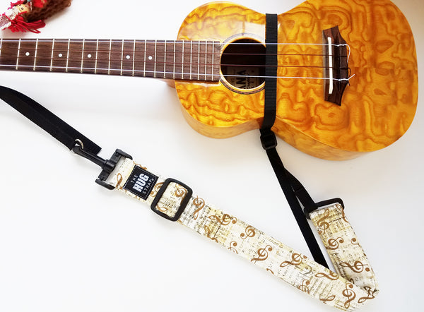 Hug Strap for Ukulele - Gold Music Notes on Beige