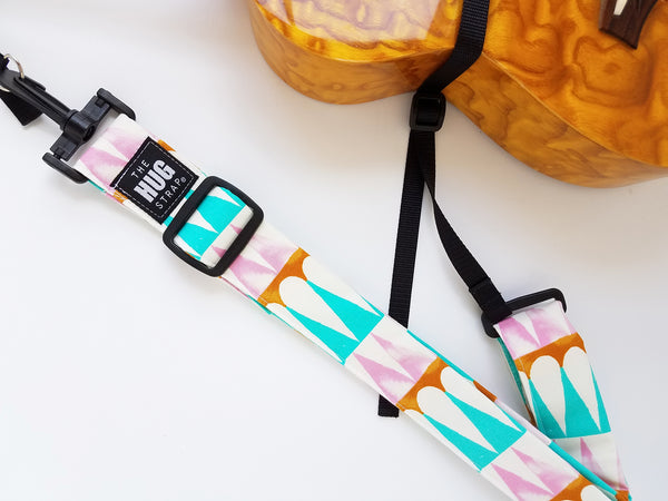 Hug Strap for Ukulele -Pink, Turquoise, and White Teardrop Color Blocks