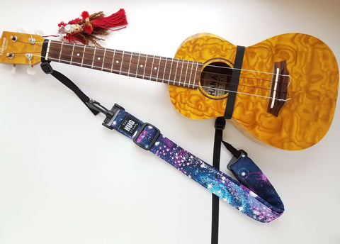 Hug Strap for Ukulele - Purple Galaxy Stars