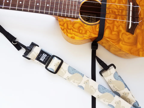 Hug Strap for Ukulele - Beige Squirrels