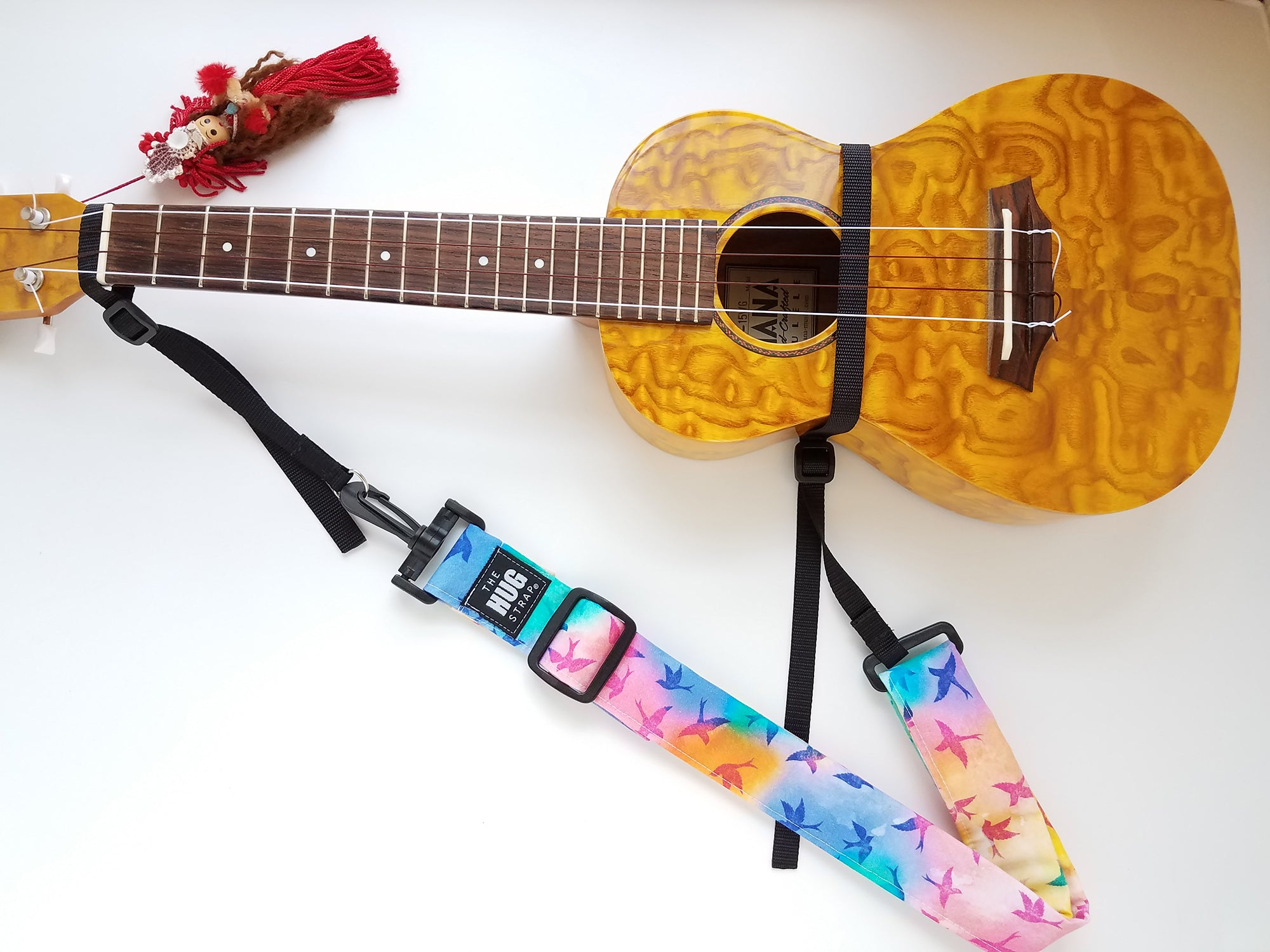 Hug Strap for Ukulele - Tie Dye Birds