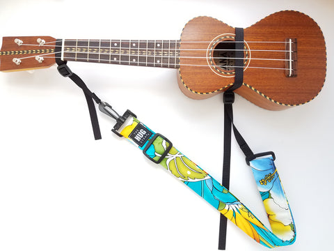 Hug Strap for Ukulele - White Hibiscus on Turquoise
