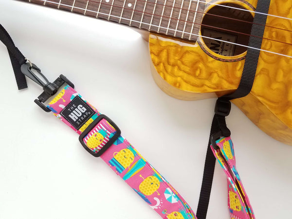 Hug Strap for Ukulele - Beachy Pineapples