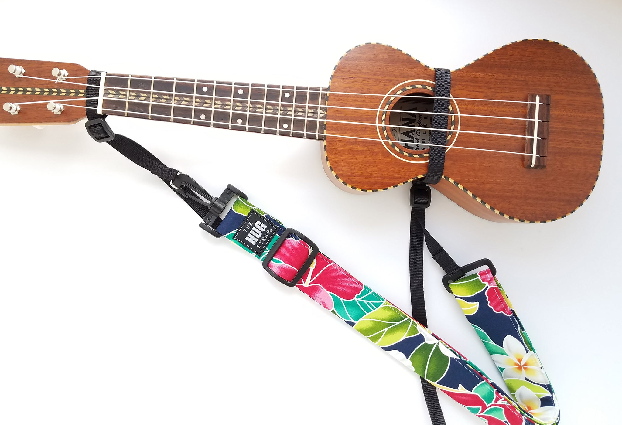 Hug Strap for Ukulele -Hibiscus and Plumeria on Navy
