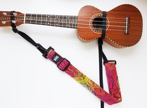 Hug Strap for Ukulele - Rainbow Swirls