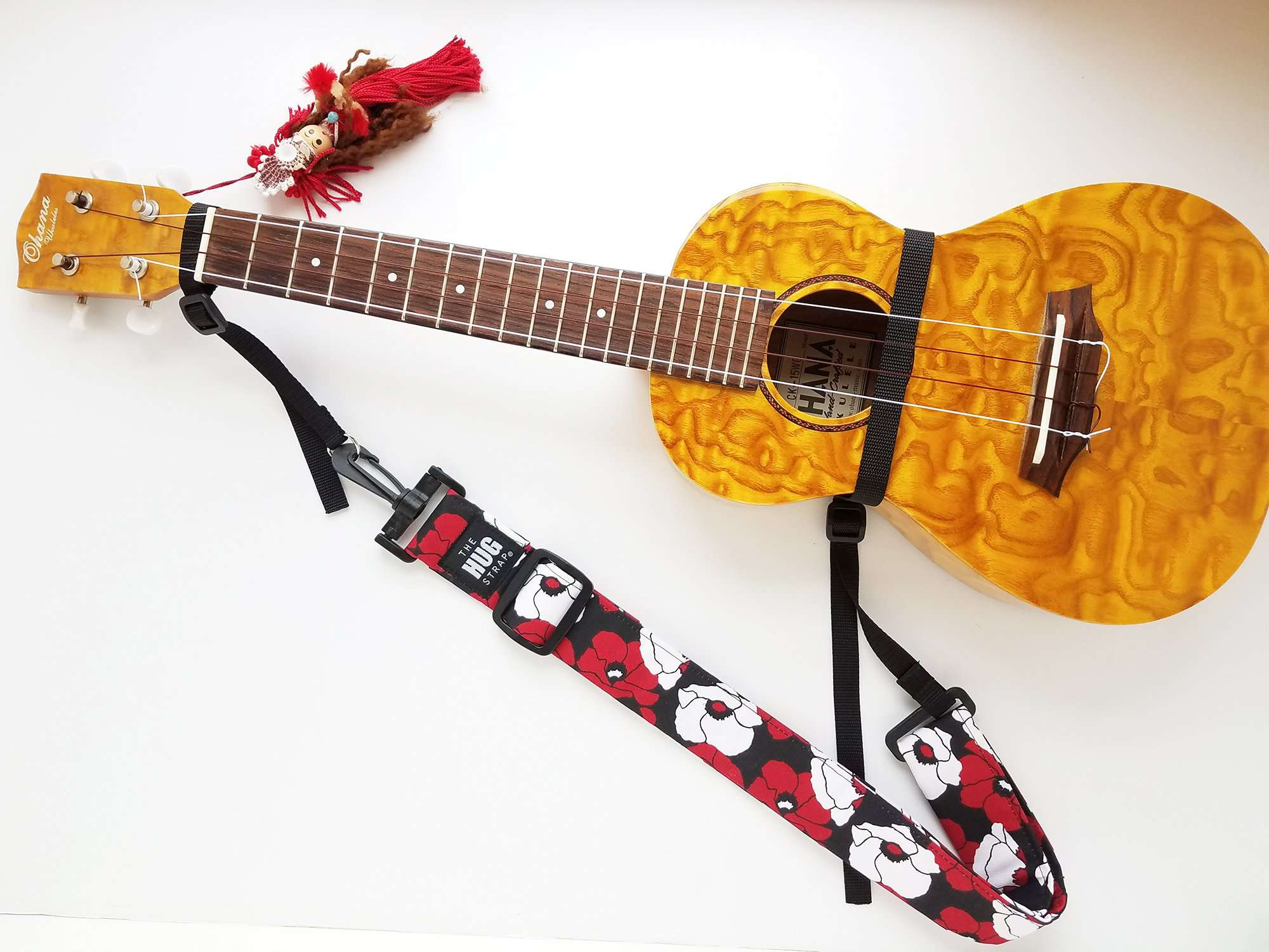 Hug Strap for Ukulele - Red and White Poppies