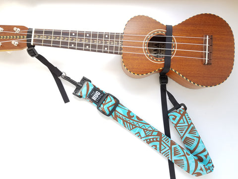 Hug Strap for Ukulele - Brown and Aqua Tattoo Tribal print