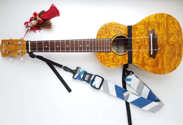Hug Strap for Ukulele Geometric Blue White Gray