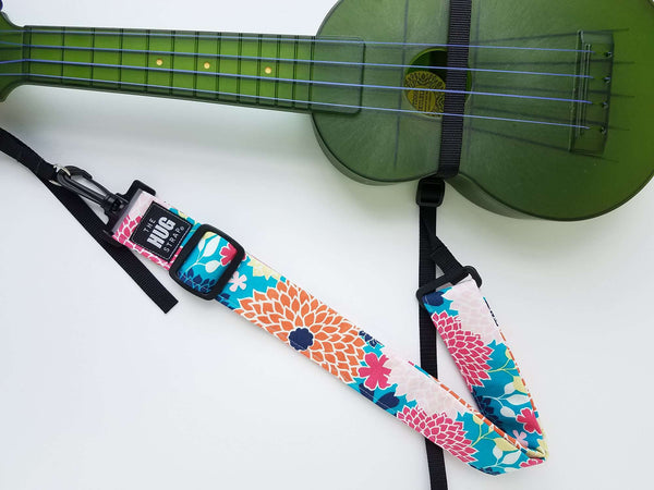 Ukulele Strap - Hug Strap Orange and Pink Flowers on Blue