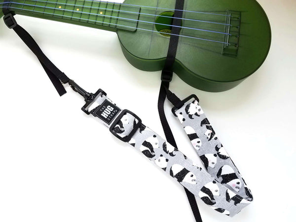 Hug Strap for Ukulele Pandas on Gray