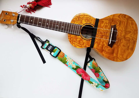 Hug Strap for Ukulele Plumeria and Hibiscus on Aqua