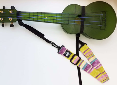 Ukulele Strap - Hug Strap Purple, Green, and Beige Stripes