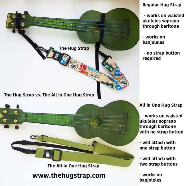 Ukulele Strap ALL in ONE Hug Strap - Stars on Black
