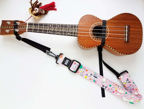 Hug Strap for Ukulele Sleepy Dogs on Pink
