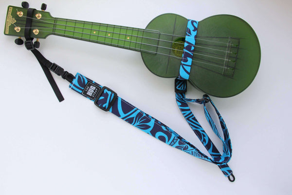 Ukulele Strap All in One Hug Green, Purple and Beige Stripes