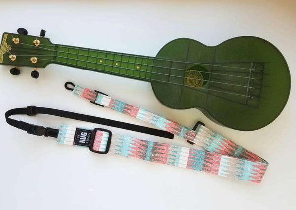Ukulele Strap All in One Hug, Pink and Blue Triangles