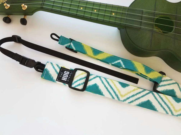 Ukulele Strap All in One Hug Teal, Yellow, and White Chevron