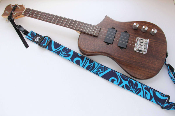 Ukulele Strap All in One HUG Navy and Turquoise Tapa