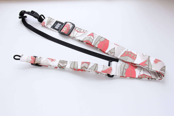 Ukulele Strap All in One HUG Strap Coral and Beige Feathers